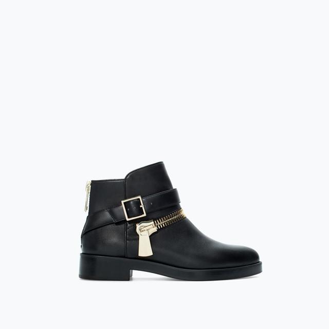 Zara Flat Leather Bootie With Zip