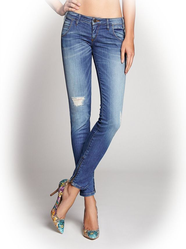 Guess Low-Rise Moto-Seam Skinny Jeans
