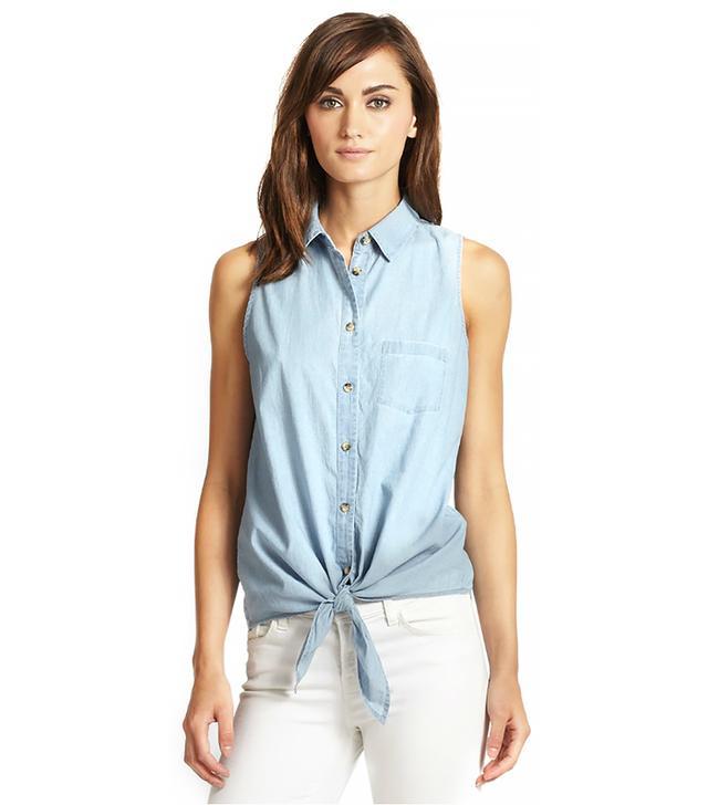Equipment Mina Tie-Front Sleeveless Chambray Shirt