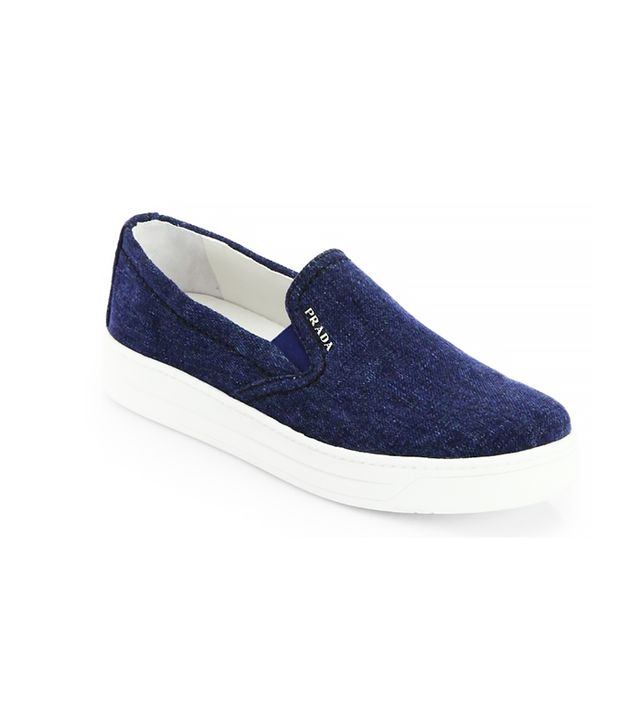 Prada Denim Laceless Sneakers