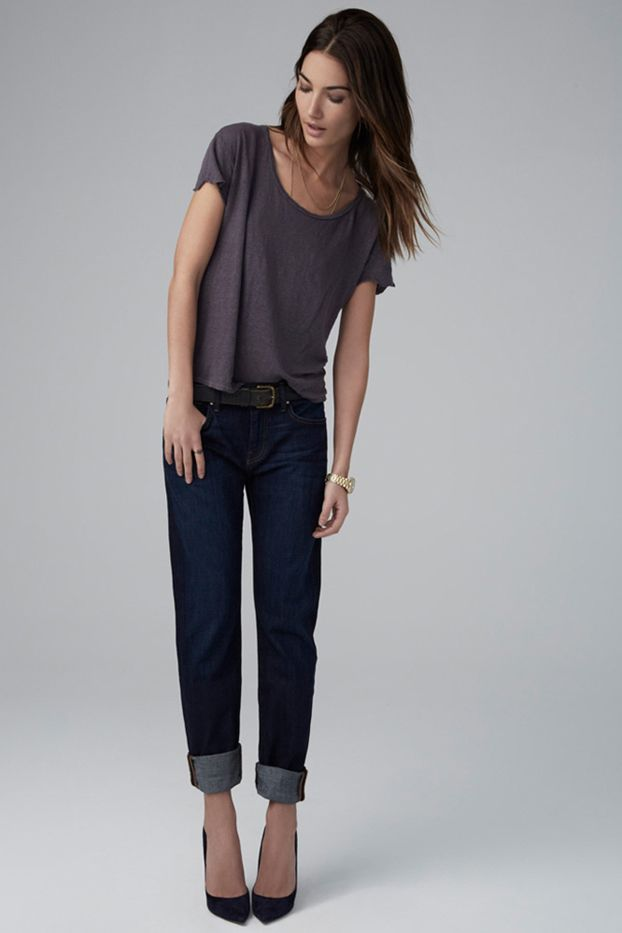 Velvet Jenny Tailored Boyfriend Jean in Ink