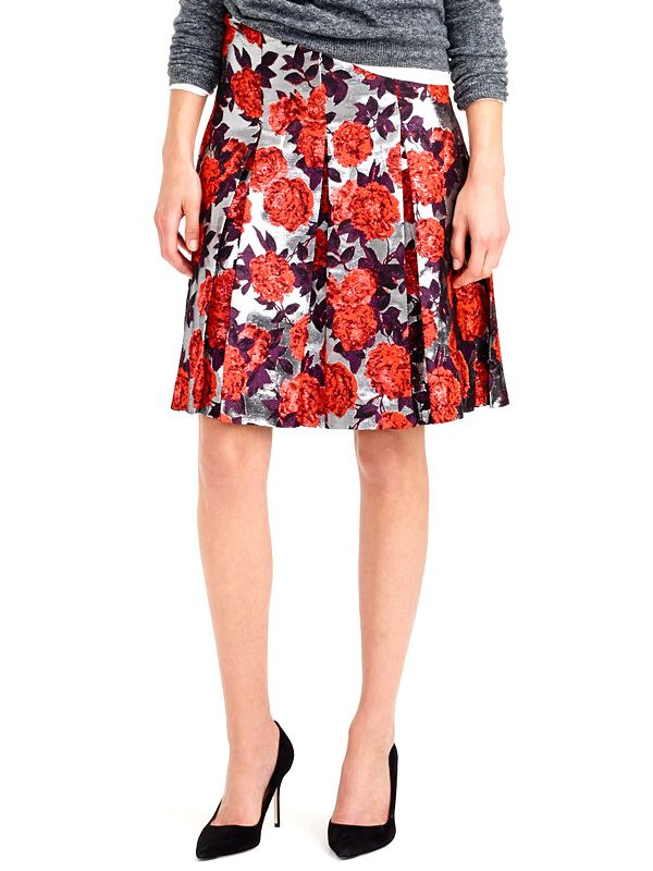 J.Crew Collection Metallic Floral Jacquard Skirt