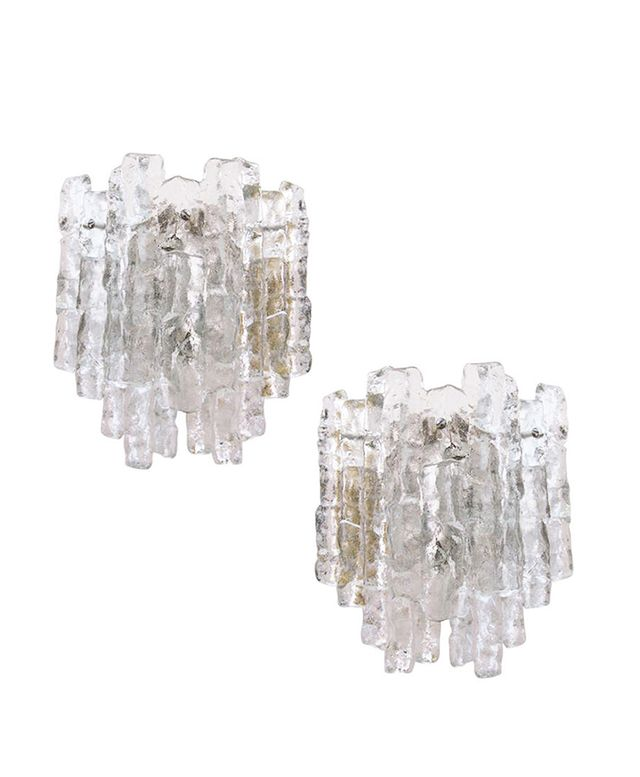 1st Dibs Pair of Clear Icy Glass Kalmar Sconces