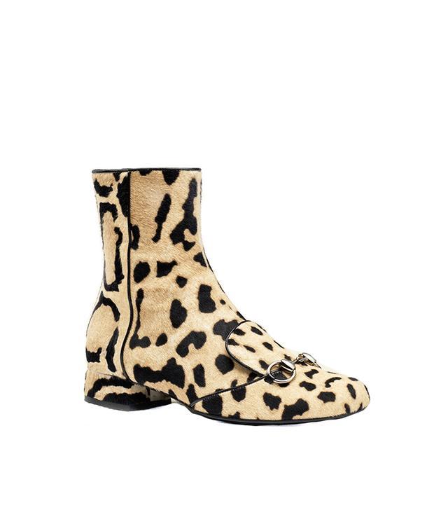 Gucci Leopard Print Calf Hair Horsebit Ankle Boots