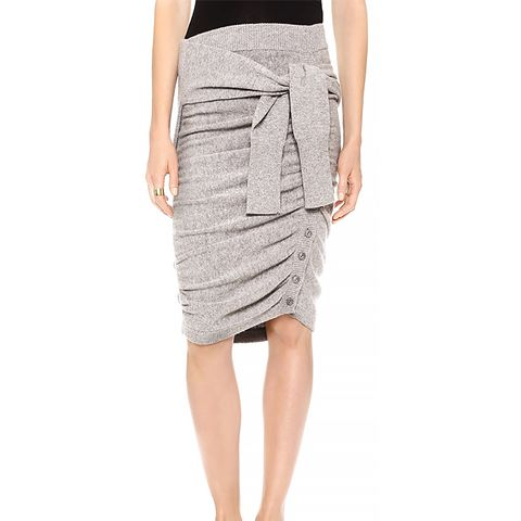 Ruched Sweater Skirt with Sleeve Ties