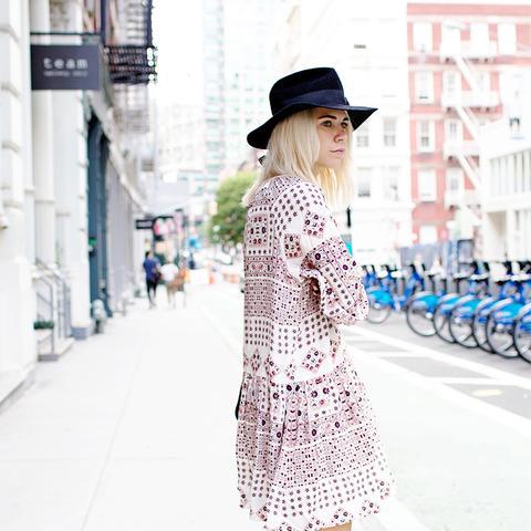 Always Judging Hat Printed Dress Street Style