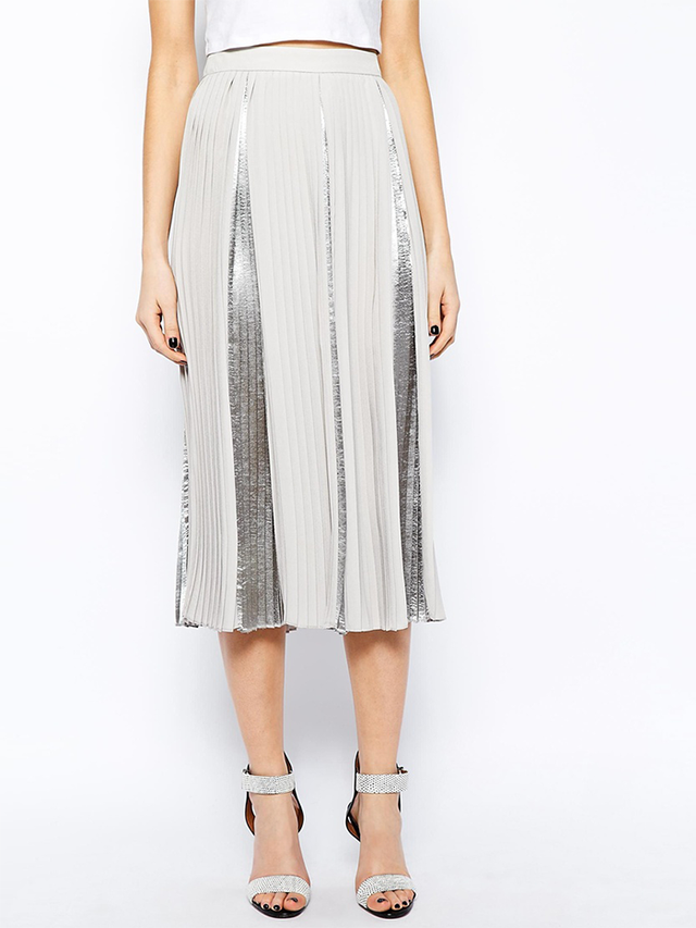 ASOS Premium Pleated Midi Skirt with Metallic Inserts