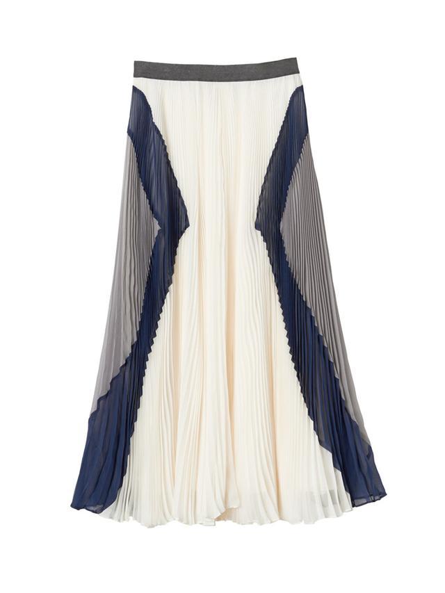 Rebecca Taylor Pleated & Colorblocked Midi Skirt