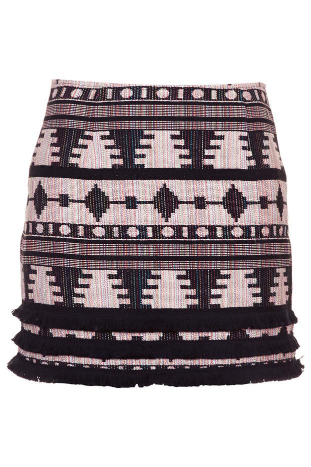 Topshop Fringe Hem Aztec Pelmet Skirt