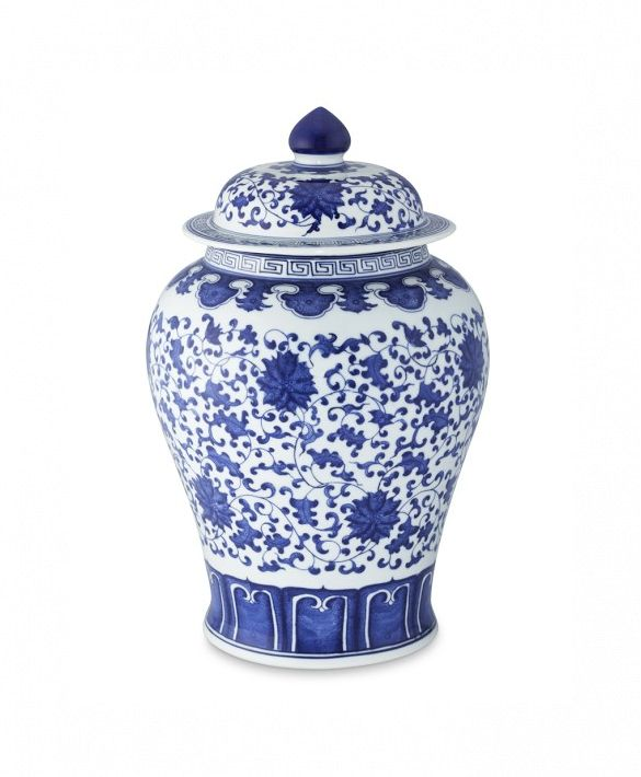 Williams-Sonoma Blue & White Ginger Jar Lidded Urn
