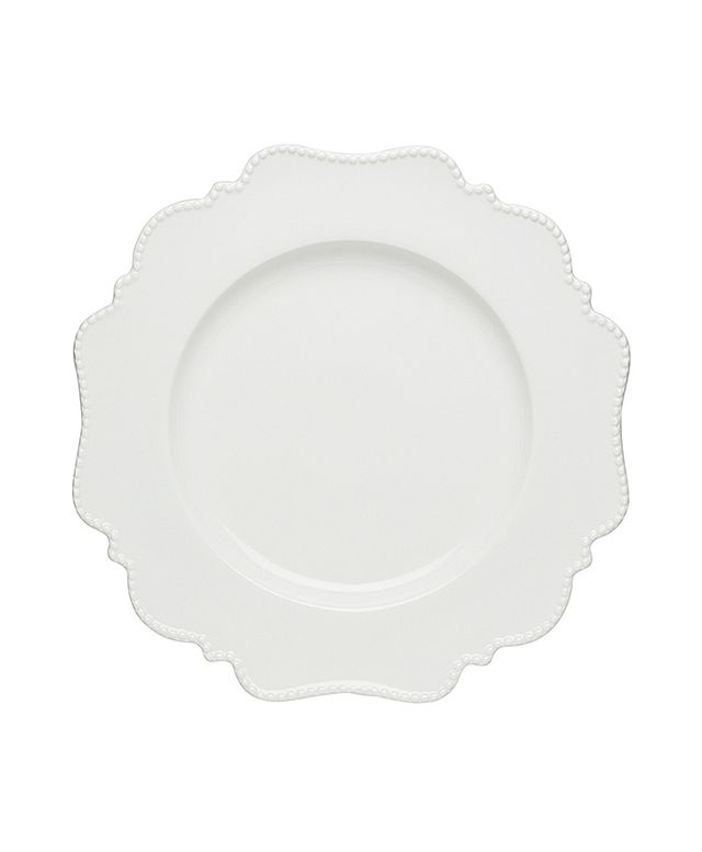 Overstock Red Vanilla Pinpoint White Dinner Plates