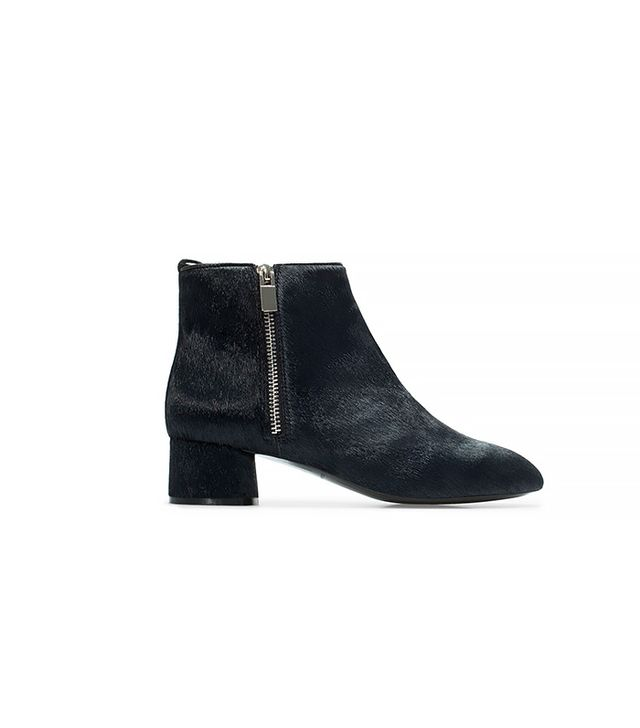 Zara Block Heel Leather Booties