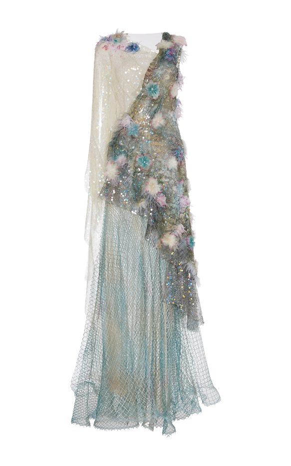 Rodarte Hand Painted Net Gown With Hand Embroidered Feather Lace, Iridescent Sequins, and Swarovski Crystals