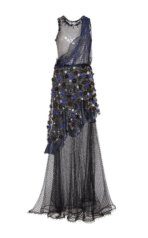 Rodarte Embroidered Pearl And Beaded Net Gown With Iridescent Sequins and Swarovski Crystals