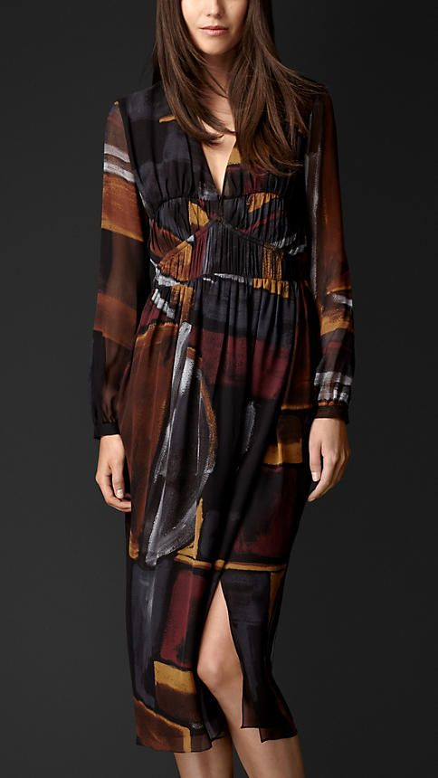 Burberry Prorsum Burberry Prorsum Geometric Print Layered Silk Smock Dress