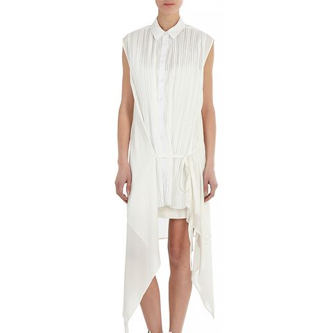 Pleated-Front Sleeveless Shirt Dress