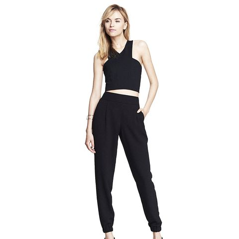 High Waisted Textured Crepe Ankle Trousers