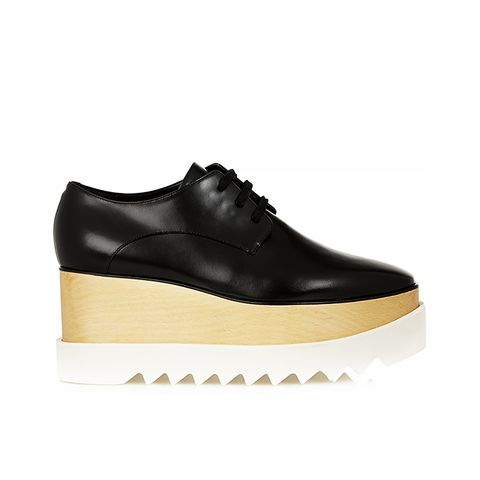 Faux Glossed-Leather Platform Brogues