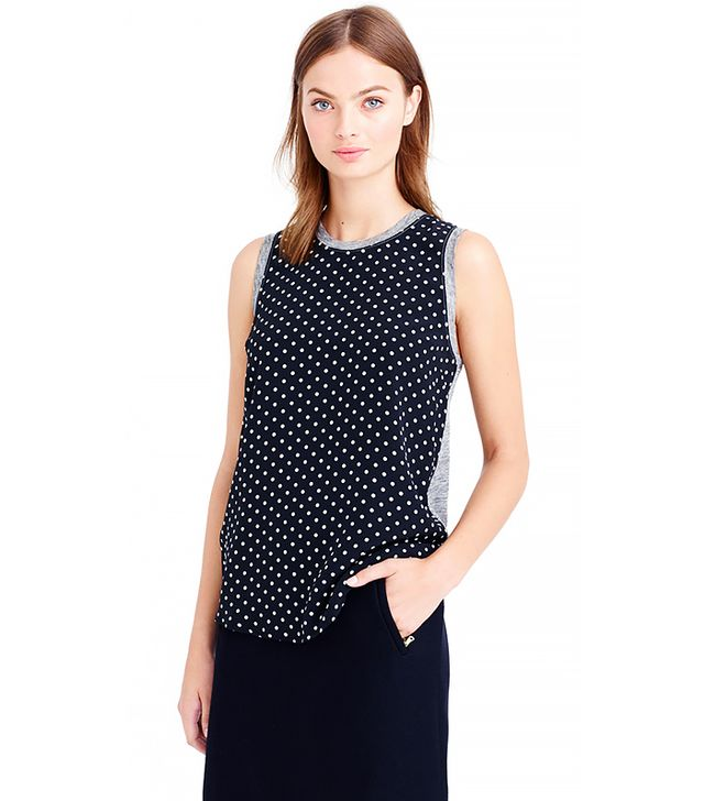 J. Crew Silk-Front Tank in Polka Dot