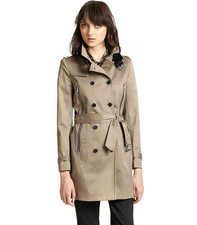The Kooples Leather-Trimmed Stretch Cotton Trenchcoat