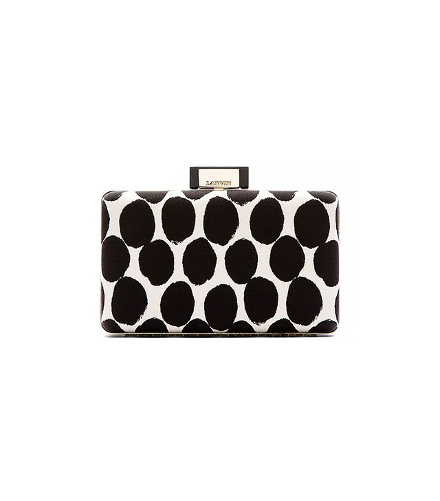 Lanvin Ivory & Black Spotted Box Clutch