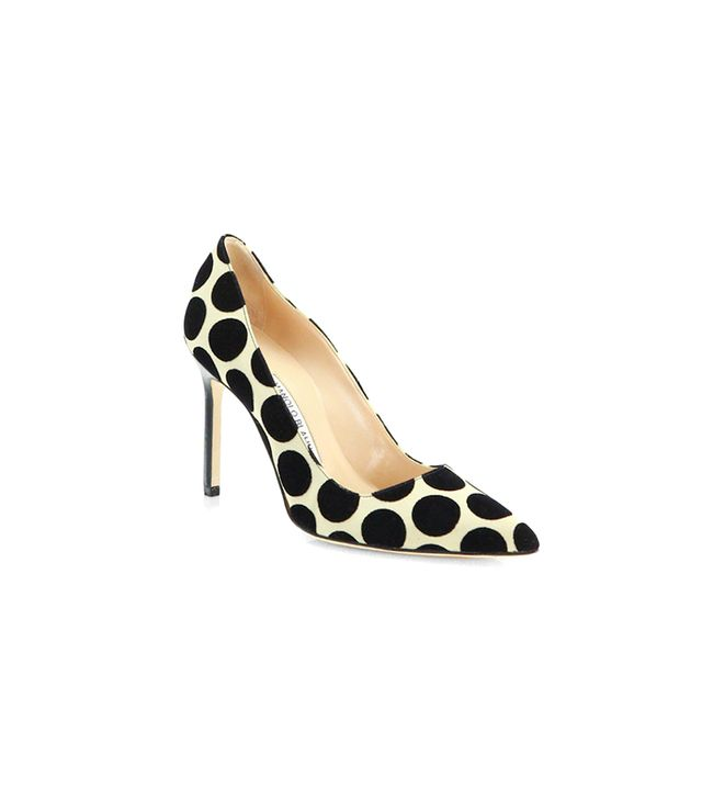 Manolo Blahnik Satin & Suede Polka Dot BB Pumps