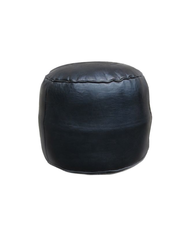 Maven Collection Black Keys Moroccan Leather Floor Pouf
