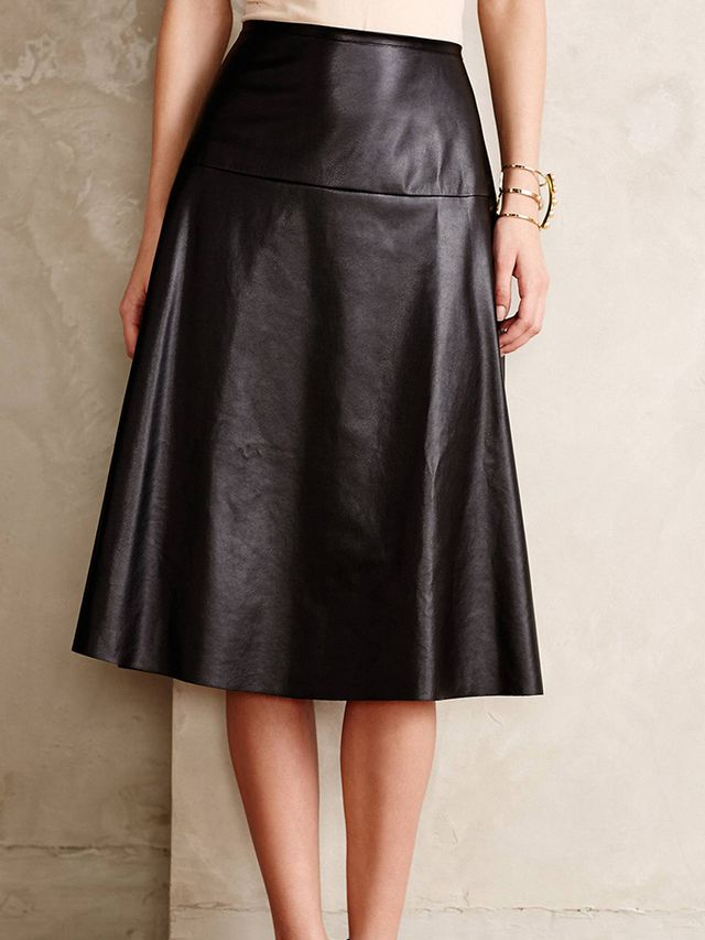 Anthropologie Vegan Leather Midi Skirt