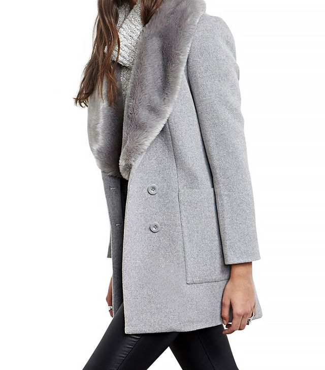 Forever 21 Faux Fur Collar Coat