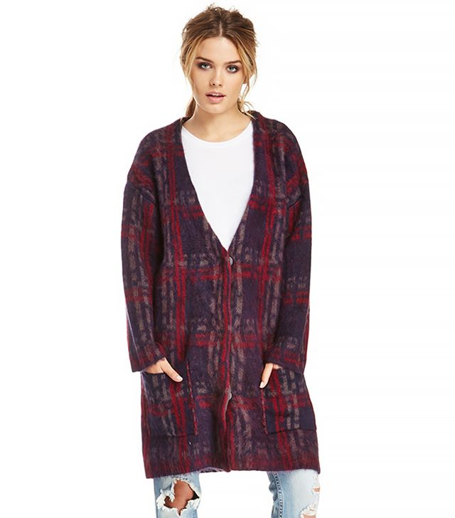 JOA Plaid Knit Coat