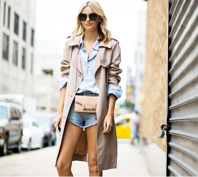 Get away with wearing cutoffs by topping your outfit with a classic trench and structured accessories: