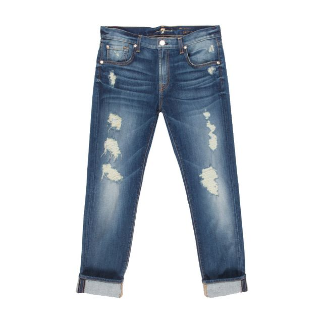 The Relaxed Skinny in Destroyed Deep Indigo 7 For All Mankind
