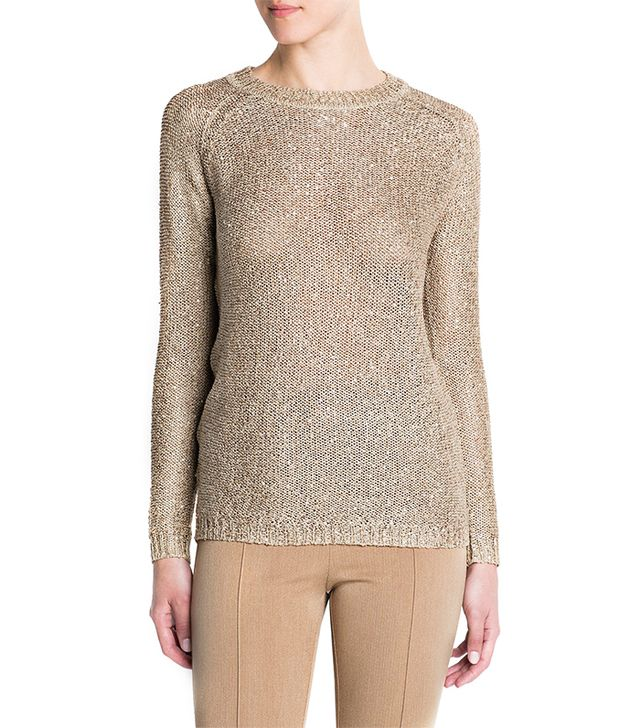 Mango Sequined Metallic Sweater