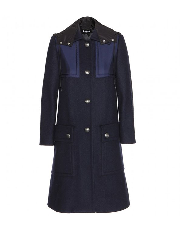 Miu Miu Wool Coat with Shell Detail