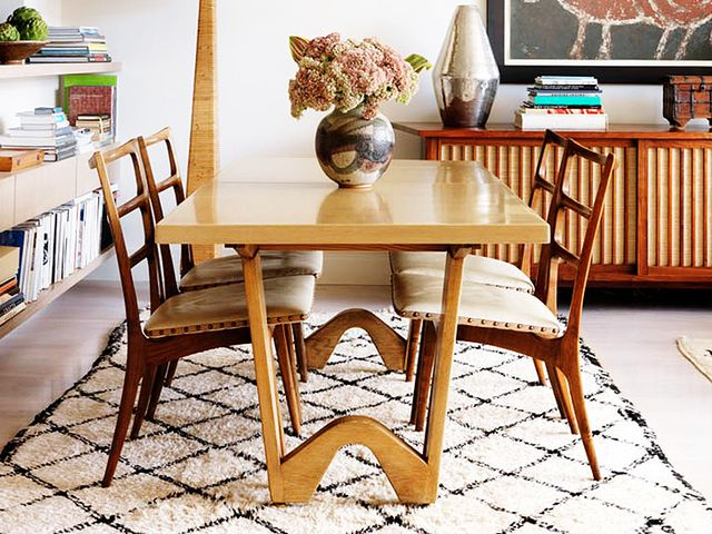 Get The Look A Neutral Dining Room With Midcentury Flair