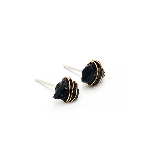 Wrapped Garnet Stud Earrings