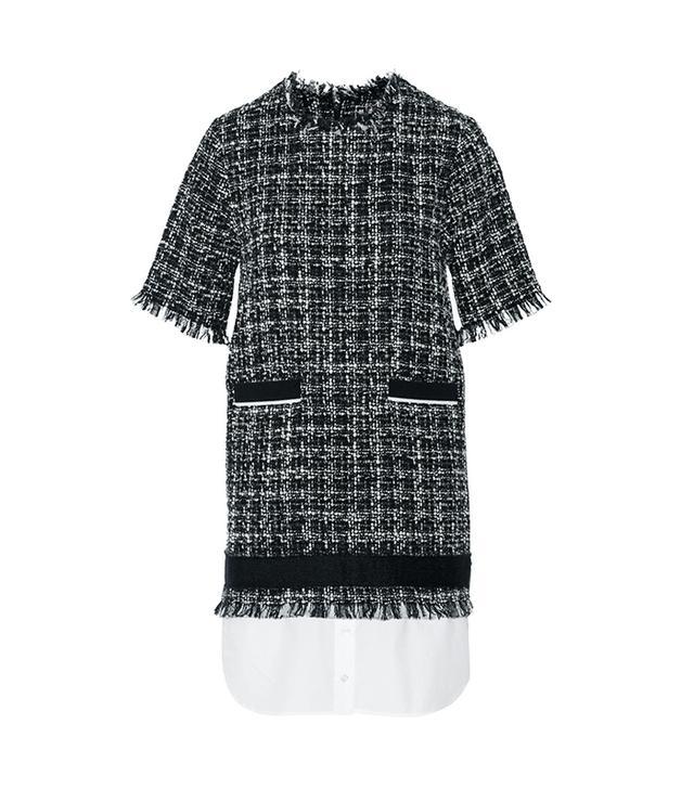 MSGM Poplin-Hem Bouclé-Tweed Dress