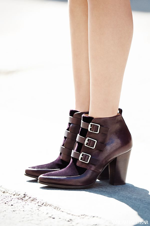 A pair of buckled Jimmy Choo boots gives the outfit Lim's preferred touch of edge.