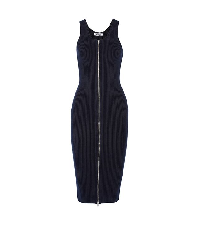 T By Alexander Wang Ribbed-Knit Cotton-Blend Dress