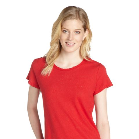 Red Linen Blend Vintage T-Shirt