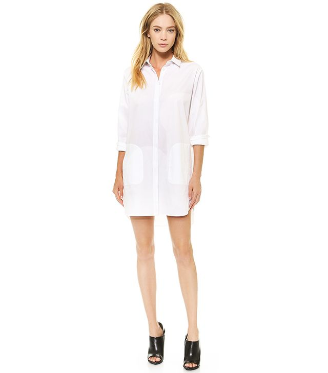 T by Alexander Wang Cotton Poplin Long Sleeve Shirt Dress