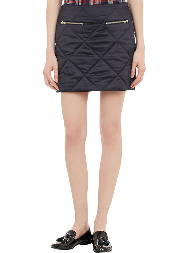 Harvey Faircloth Diamond-Quilted Satin Mini Skirt