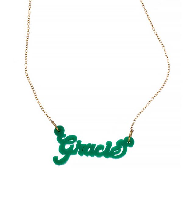 Max & Chloe Hunter Green Acrylic Nameplate Necklace