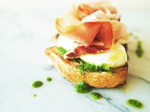 Mozzarella, Prosciutto, Arugula Pesto Toast
