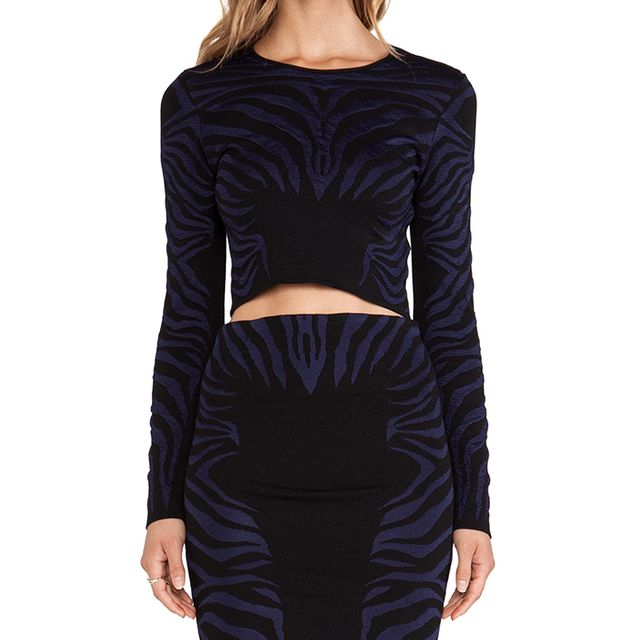 RVN Zebra Textured  Jacquard Long Sleeve Crop Top