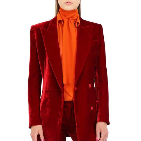 Viscose and Silk Blend Velvet Jacket