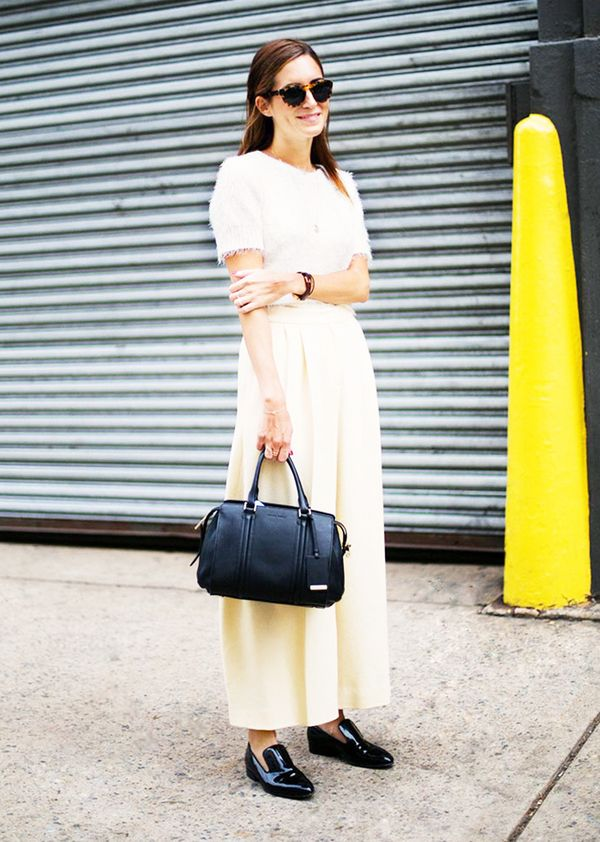 Short-Sleeve Sweater + Wide-Leg Trousers