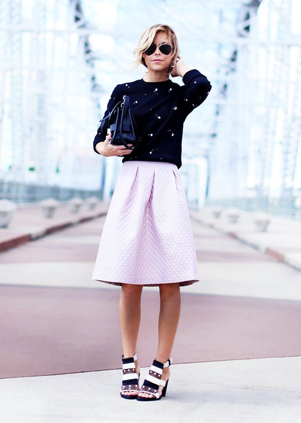 Crew-Neck Sweatshirt + Full Midi Skirt