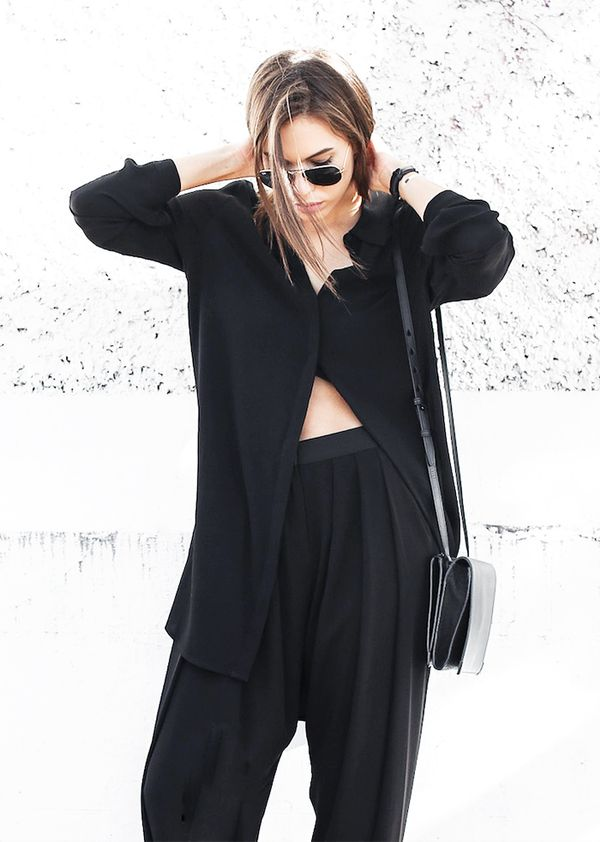 Oversized Blouse + High-Waisted Trousers