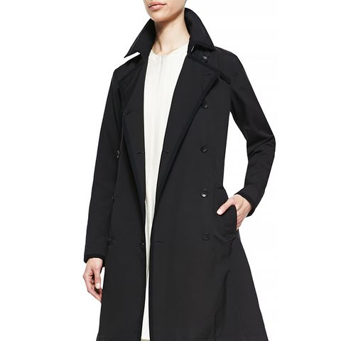 Edie Double-Breasted Button-Front Trenchcoat